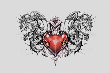 Wall Mural - Dragon lizzard, Tattoo sketch with red heart, handmade drawing over grey background