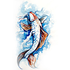 Wall Mural - Japanese carp, fish tattoo drawing in blue colors with watercolor