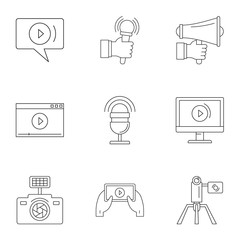 Social photo icons set. Outline set of 9 social photo vector icons for web isolated on white background