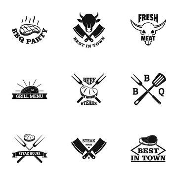 Livestock logo set. Simple set of 9 livestock vector logo for web isolated on white background