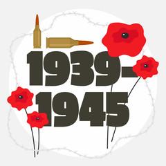 Second world war commemorative background. Flat illustration of second world war commemorative vector background for web design