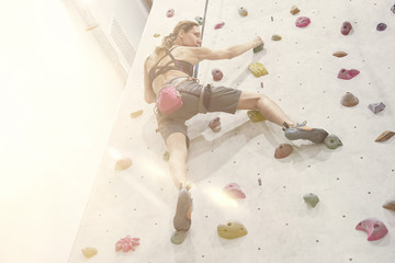 Woman with perfect fit body, beautiful muscular arms, training on a climbing wall in sport hall