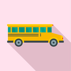 Side view of school bus icon. Flat illustration of side view of school bus vector icon for web design