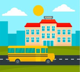 School bus driving to school background. Flat illustration of school bus driving to school vector background for web design