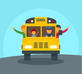 Kids in school bus background. Flat illustration of kids in school bus vector background for web design
