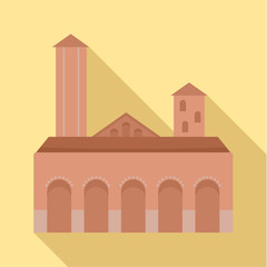 City tower brown building icon. Flat illustration of city tower brown building vector icon for web design