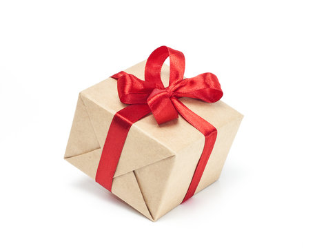 Gift box with red ribbon bow, isolated on white background