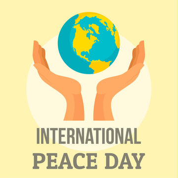 Earth international peace day background. Flat illustration of earth international peace day vector background for web design