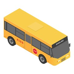 Village school bus icon. Isometric of village school bus vector icon for web design isolated on white background