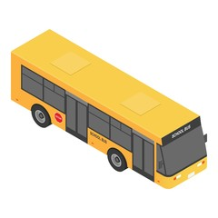 Modern school bus icon. Isometric of modern school bus vector icon for web design isolated on white background