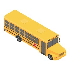 American school bus icon. Isometric of american school bus vector icon for web design isolated on white background
