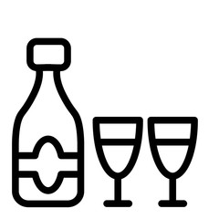 Champagne bottle with two glasses line icon. Celebration bottle and glasses vector illustration isolated on white. Glass outline style design, designed for web and app. Eps 10.