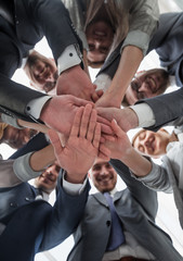 bottom view. business team showing unity with their hands together.