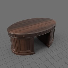 Wooden oval desk