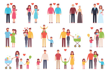 A happy family. Set. Design of onwf, mother, daughter and son, husband, wife, grandmother, grandfather. Vector illustration on white background