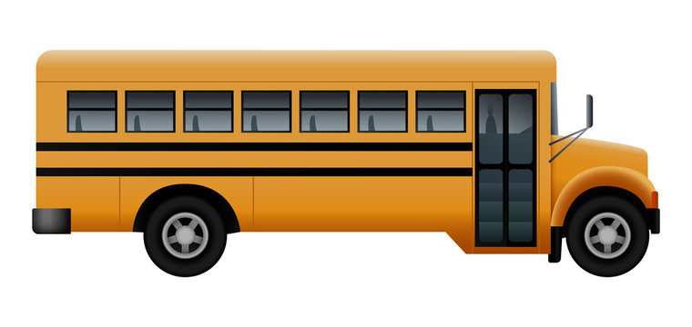 Side door of school bus mockup. Realistic illustration of side door of school bus vector mockup for web design isolated on white background