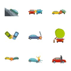 Car accident icons set. Cartoon set of 9 car accident vector icons for web isolated on white background