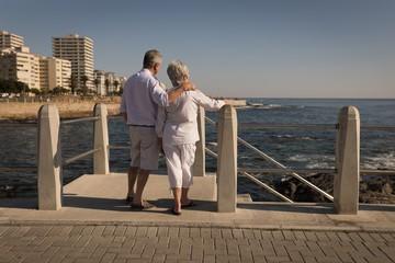 Senior couple standing near sea side at promenade