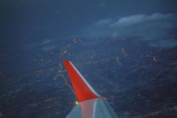 High angle view on plane  Bangkok Thailand At night.