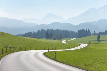 Straße von Hopferau Richtung Füssen