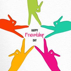 Friendship Day paper cut friend hands card