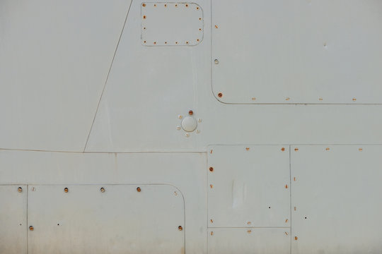 Old detail of a military aircraft, metal texture
