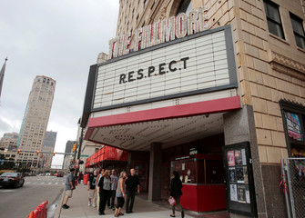 "The marquee of the Fillmore theater shows the word ""Respect' in memory of singer Aretha Franklin in downtown Detroit,"