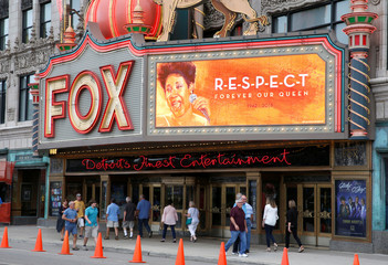 """The marquee on the Fox Theater shows the word """"Respect' in memory of singer Aretha Franklin in downtown Detroit,"""