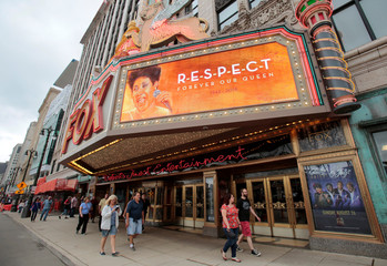 "The marquee on the Fox Theater shows the word ""Respect' in memory of singer Aretha Franklin in downtown Detroit,"
