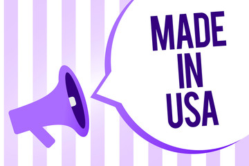 Writing note showing Made In Usa. Business photo showcasing American brand United States Manufactured Local product Megaphone loudspeaker purple stripes important message speech bubble.