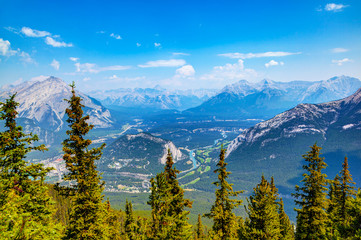 Mountain range from Sulphur Mountain in Banff, Alberta, Canada, showing Bow Valley and Banff Townsite