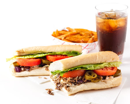 Philly Steak and Cheese Sandwich with Cola and Fries