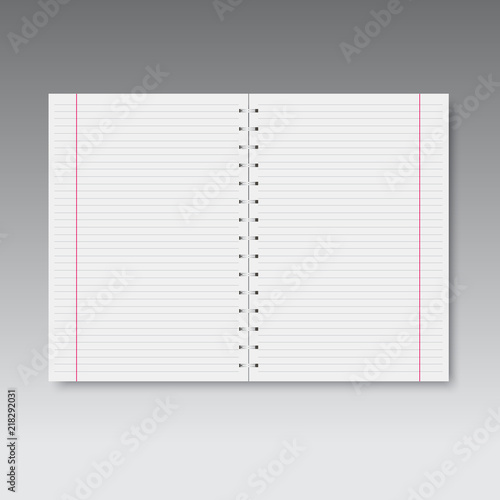 Realistic spiral lined and red line notebook