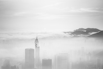Wall Mural - Misty and Cloudy view at Hong Kong in B&W color