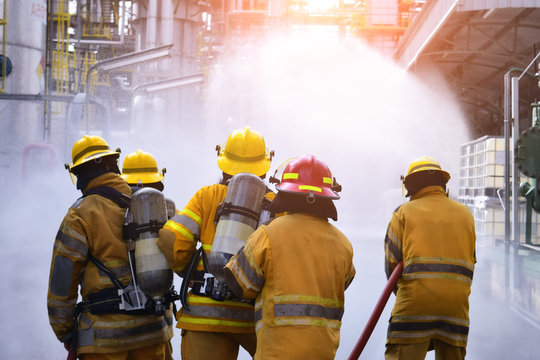 A group of firefighters helped stop the fire.