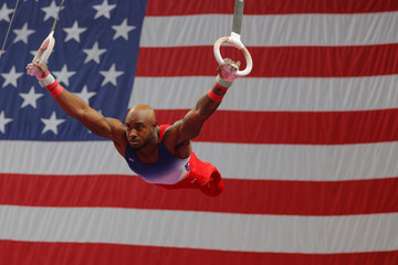 Donnell Wittenburg competes on the rings at the U.S. Gymnastics Championships in Boston