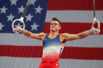 Sam Mikaluk competes on the rings at the U.S. Gymnastics Championships in Boston