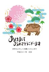 イノシシと松竹梅・雪輪の年賀状