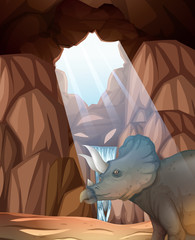 Triceratops living in the cave