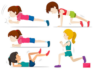 Set of girls doing fitness exercise