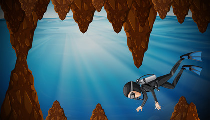 A man diving in the water cave
