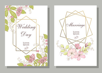 Set of card with wiid rose, may-lily, leaves and geometrical fra