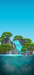 Beautiful waterfall nature scene