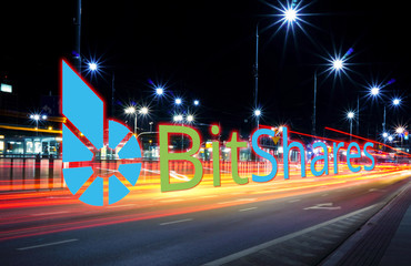 Concept of Bitshares coin  moving fast  on the road, a Cryptocurrency blockchain platform , Digital money