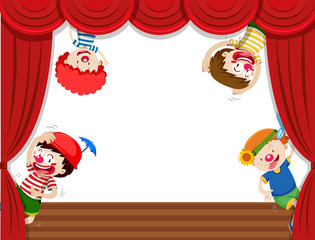 Four clowns on stage