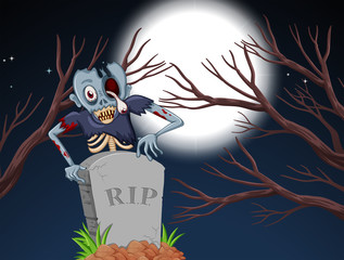 zombie in graveyard at night