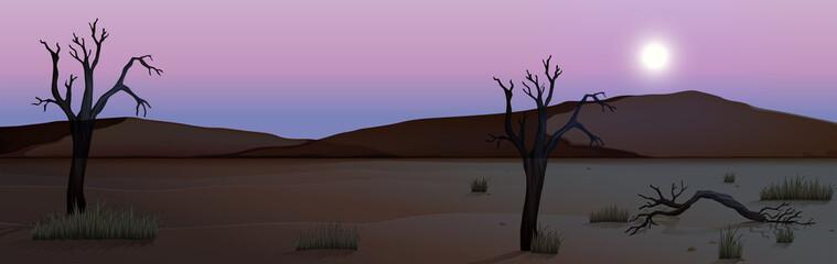 A silhouette desert scene