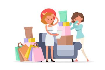 Shopping women characters vector design. no10