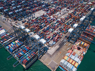 Drone fly over container terminal port in Hong Kong