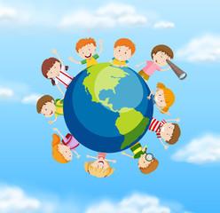 International students on the globe